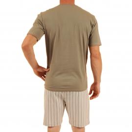 Pyjama court Violon Christian Cane en coton : tee-shirt col tunisien kaki, bermuda à rayures kaki, grises, blanches et rouges