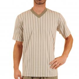 Pyjama court Violon Christian Cane en coton : tee-shirt col V à rayures kaki, grises, blanches et rouges et bermuda kaki