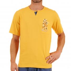 Pyjama court Vitaly Christian Cane en coton : tee-shirt col tunisien jaune pâle et bermuda bleu indigo