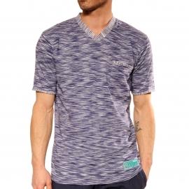 Pyjama court Vivero Christian Cane en coton : tee-shirt col V blanc à rayures bleu marine chiné, bermuda bleu marine
