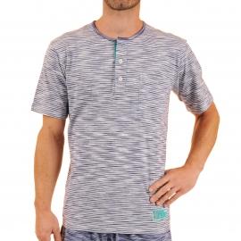 Pyjama court Vivero Christian Cane en coton : tee-shirt col tunisien et bermuda blanc à rayures bleu marine chiné