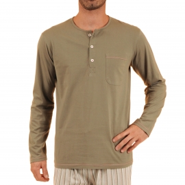 Pyjama long Violon Christian Cane en coton : tee-shirt manches longues col tunisien kaki, pantalon à rayures kaki, grises, blanches et rouges