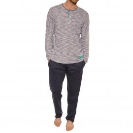 Pyjama long Vivero Christian Cane en coton : tee-shirt manches longues blanc à rayures bleu marine chiné et pantalon bleu marine