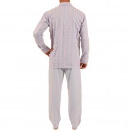 Pyjama long Vivian Christian Cane en coton : veste boutonnée parme à rayures grises, blanches et orange et pantalon gris perle à rayures parme