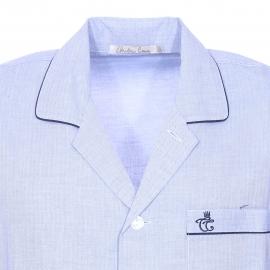 Pyjaveste Gabriel Christian Cane en flanelle de coton bleu clair à motifs chevrons
