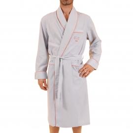 Robe de Chambre Vif Christian Cane à fines rayures grises et blanches
