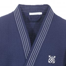 Kimono long Naples Christian Cane en coton gauffré bleu marine