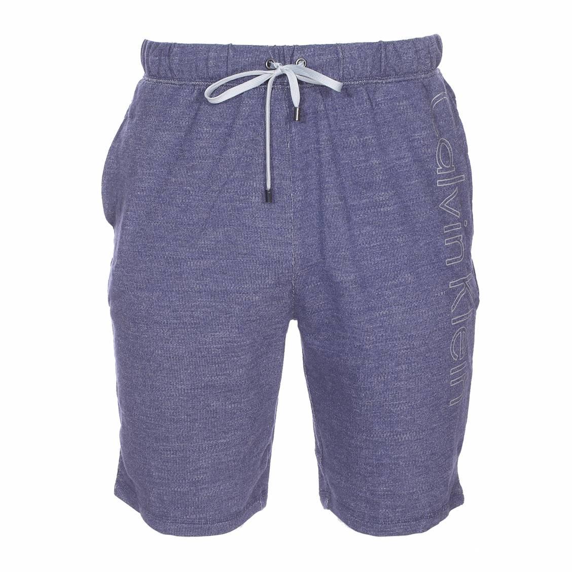 Short de pyjama calvin klein en coton bleu chiné