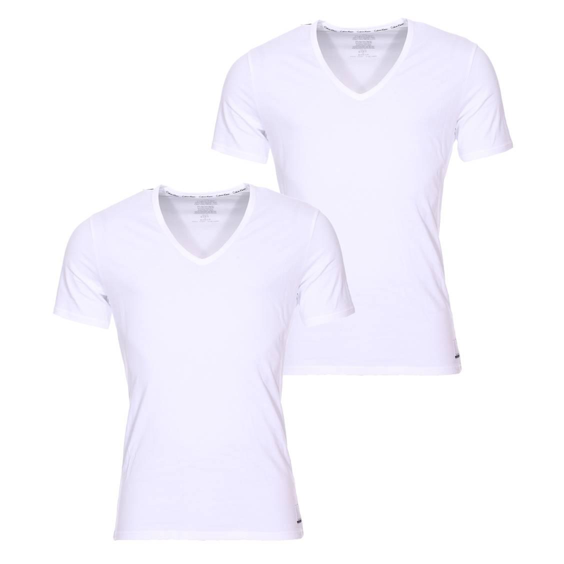 Lot de 2 tee-shirts col v calvin klein en coton stretch blanc