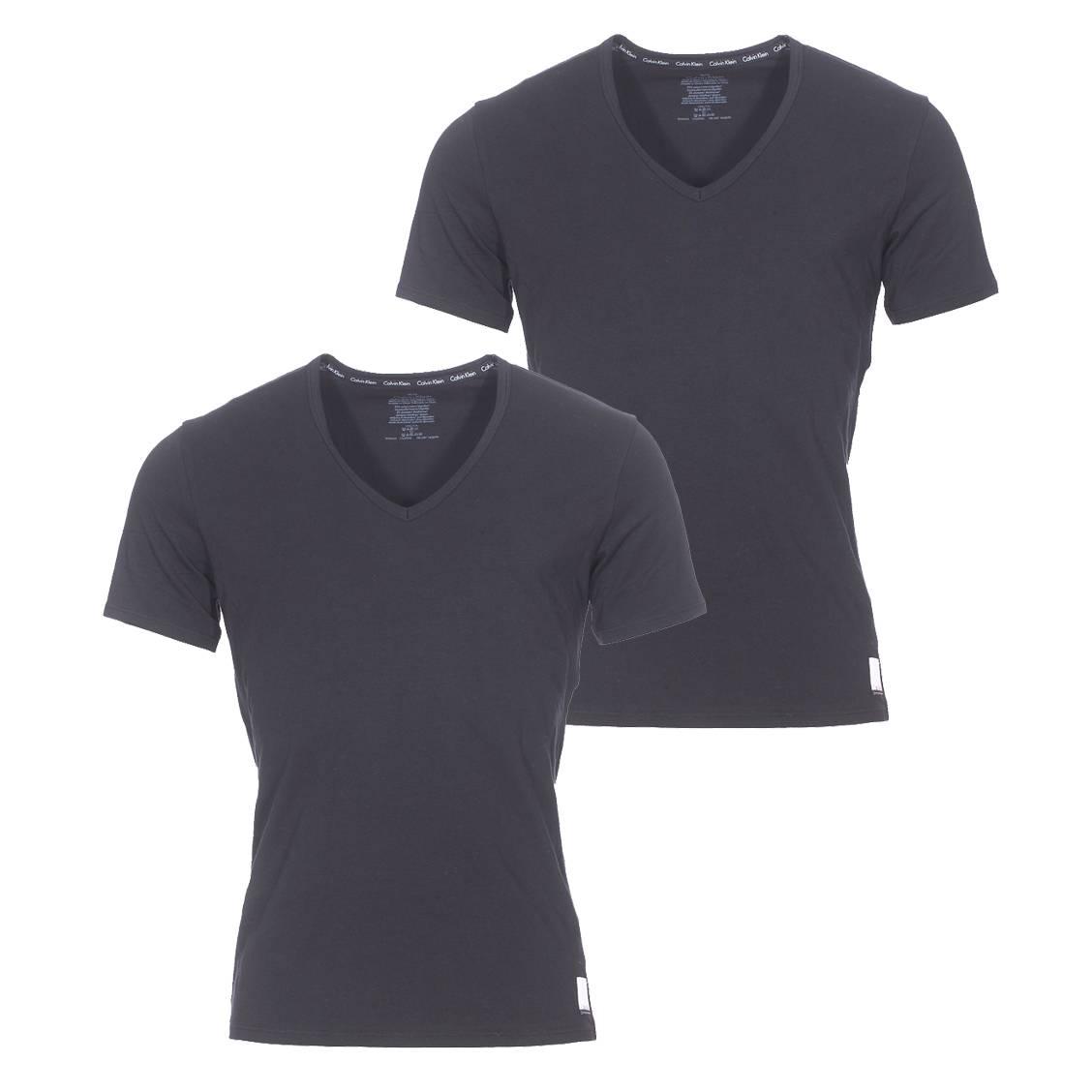 Lot de 2 tee-shirts col v calvin klein en coton stretch noir