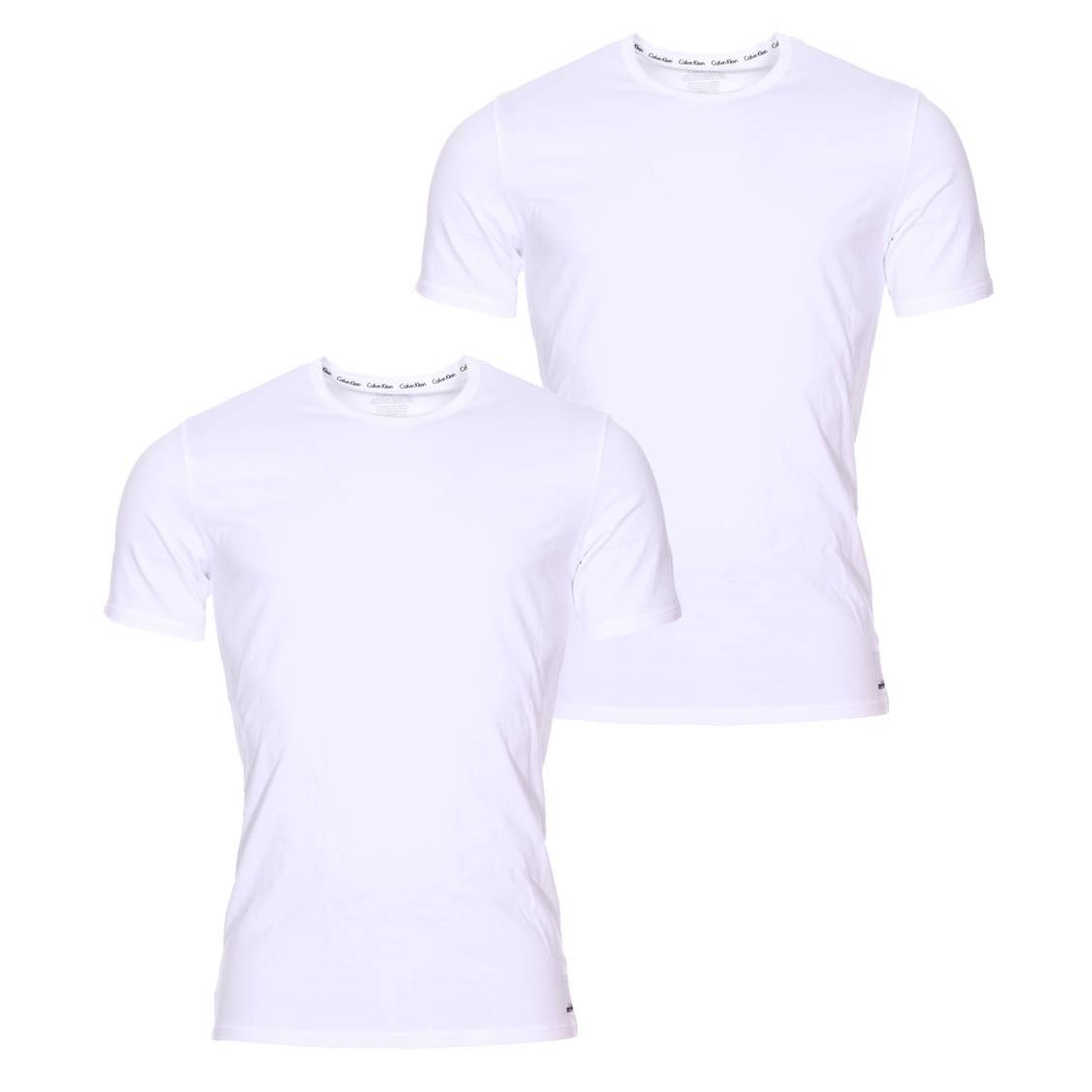 Lot de 2 tee-shirts col rond calvin klein en coton stretch blanc