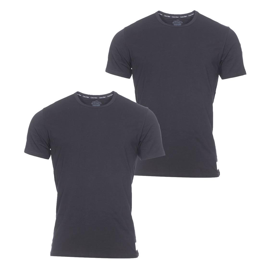 Lot de 2 tee-shirts col rond calvin klein en coton stretch noir