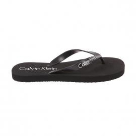 Tongs Calvin Klein noires floquées en blanc