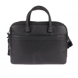 Porte-documents/ ordinateur Calvin Klein Jeans Gregory en simili cuir noir, logo CK
