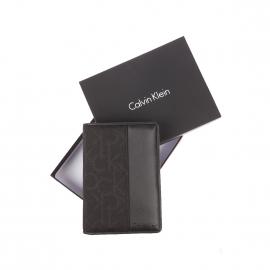 Portefeuille européen Calvin klein Jeans en tissu noir monogrammé et simili-cuir noir