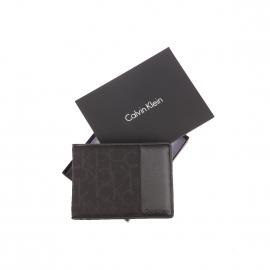 Portefeuille italien Calvin klein Jeans en tissu noir monogrammé et simili-cuir noir