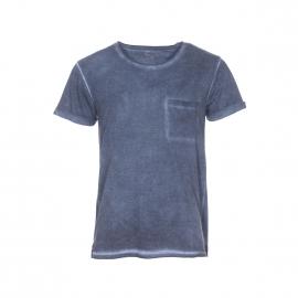 Tee-shirt col rond Deepend bleu nuit uni effet vintage