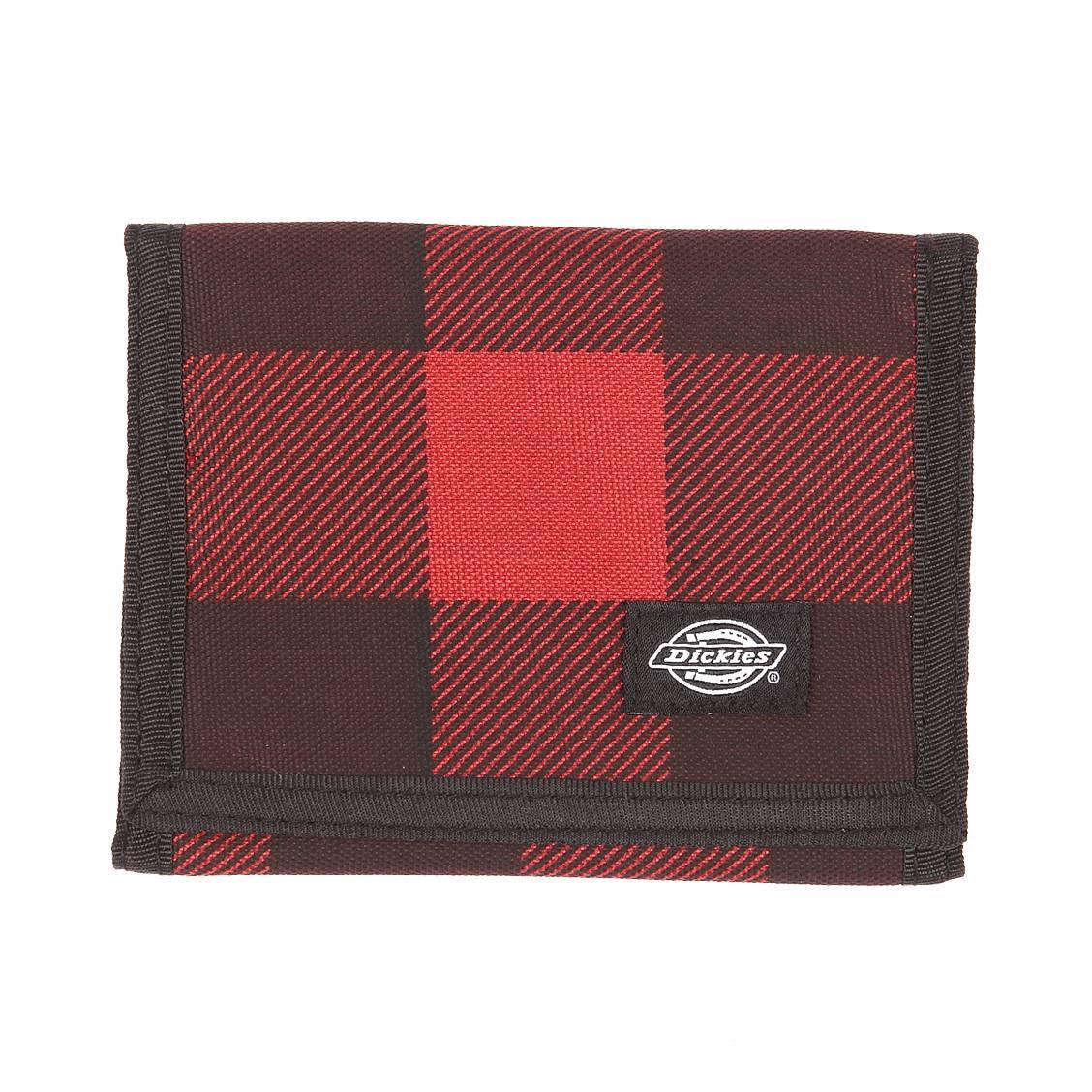 Portefeuille  en tissu à carreaux noirs et rouges