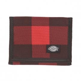 Portefeuille Dickies en tissu à carreaux noirs et rouges