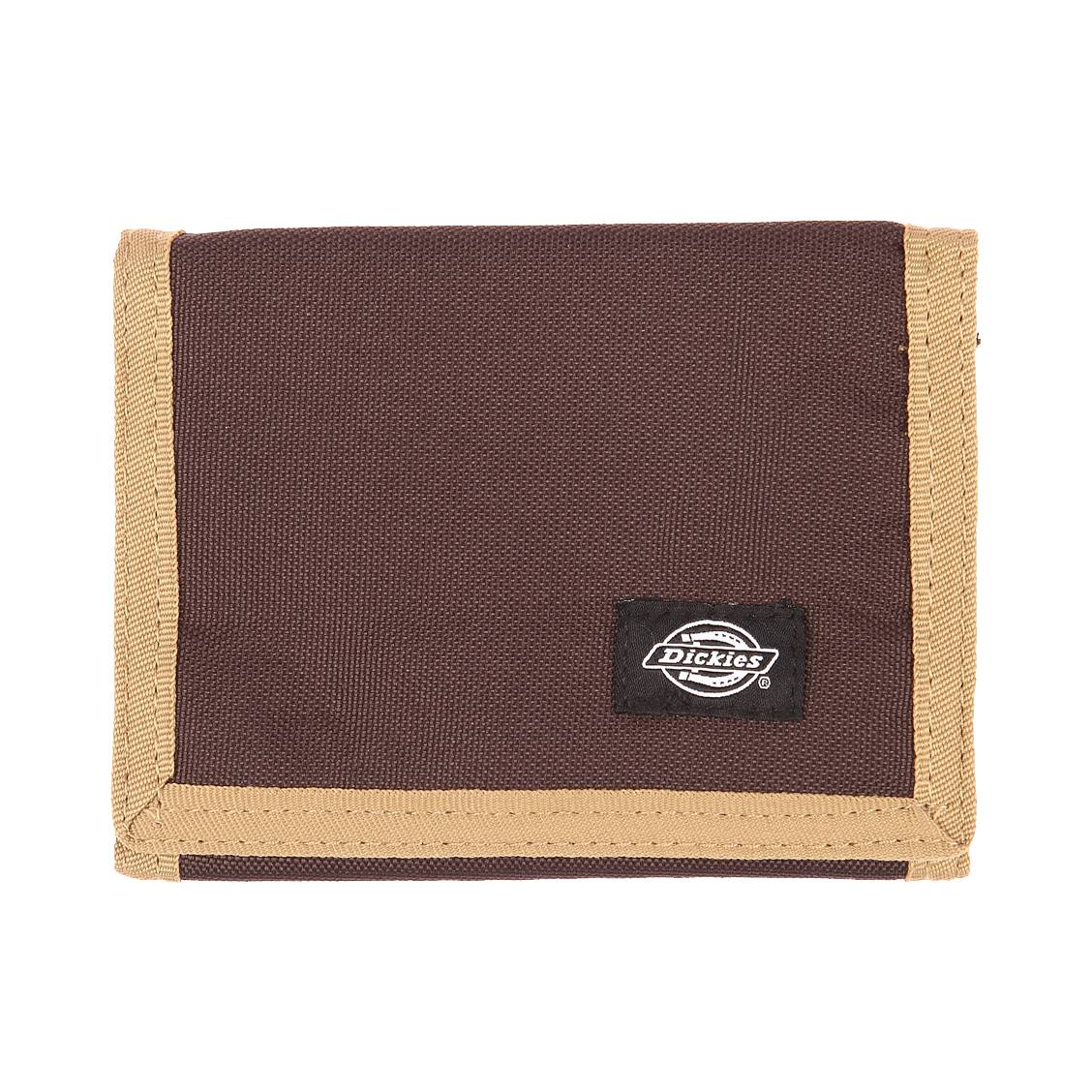 Portefeuille  en tissu chocolat et beige