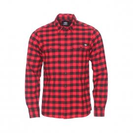 Chemise droite Dickies Jacksonville rouge à carreaux noirs