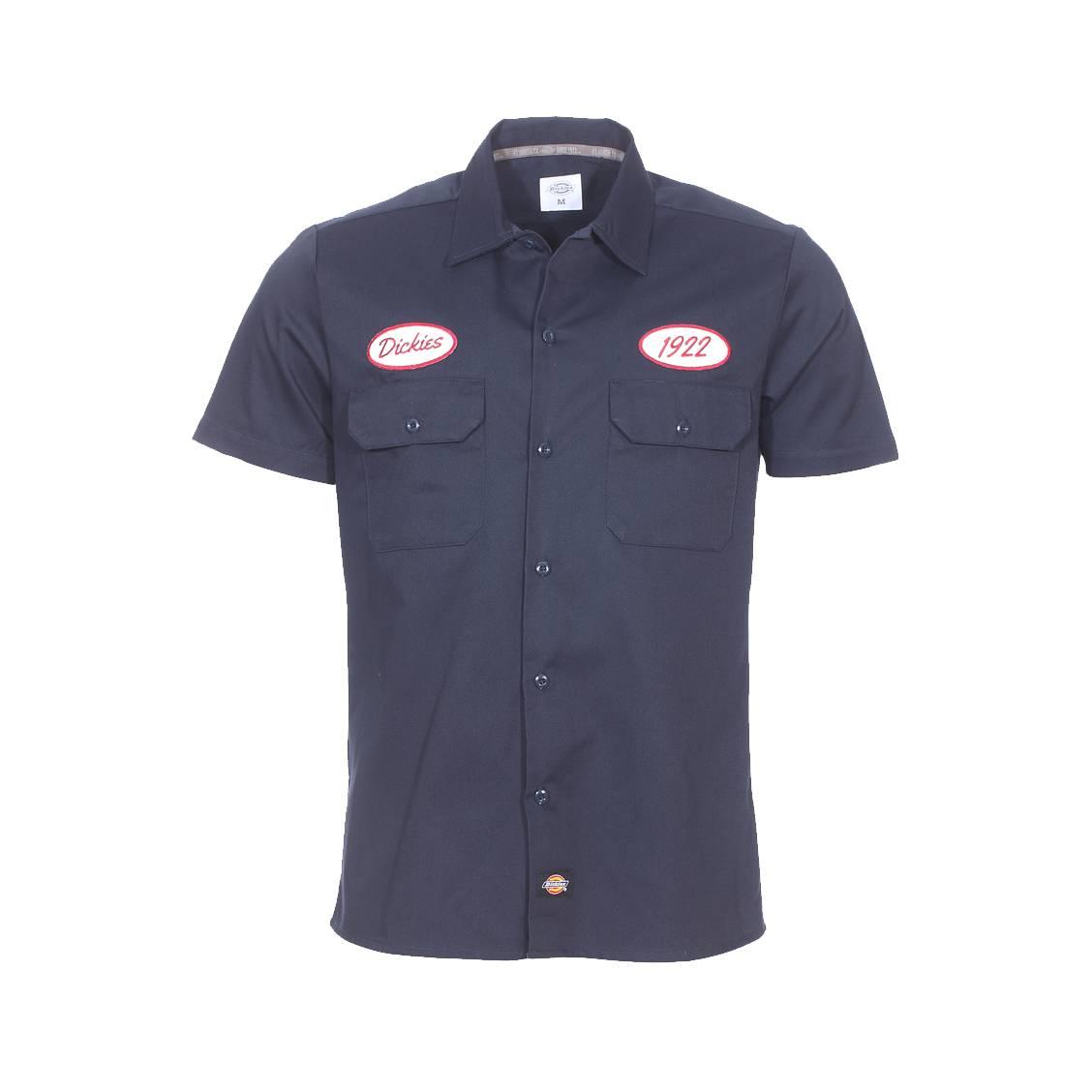 Chemise manches courtes  bleu navy brodée de patch