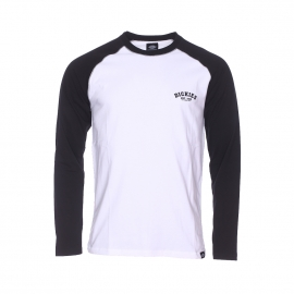 Tee-shirt col rond Dickies Baseball en coton blanc à manches longues noires