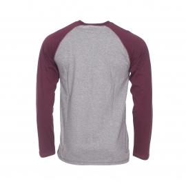 Tee-shirt col rond Dickies Baseball en coton gris foncé à manches longues bordeaux