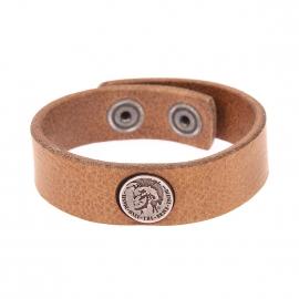 Bracelet Diesel en cuir camel à macaron métallique