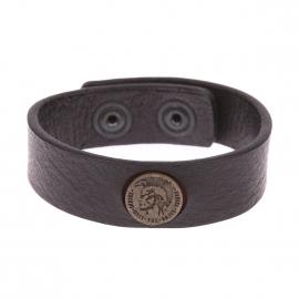 Bracelet Diesel en cuir noir à macaron métallique