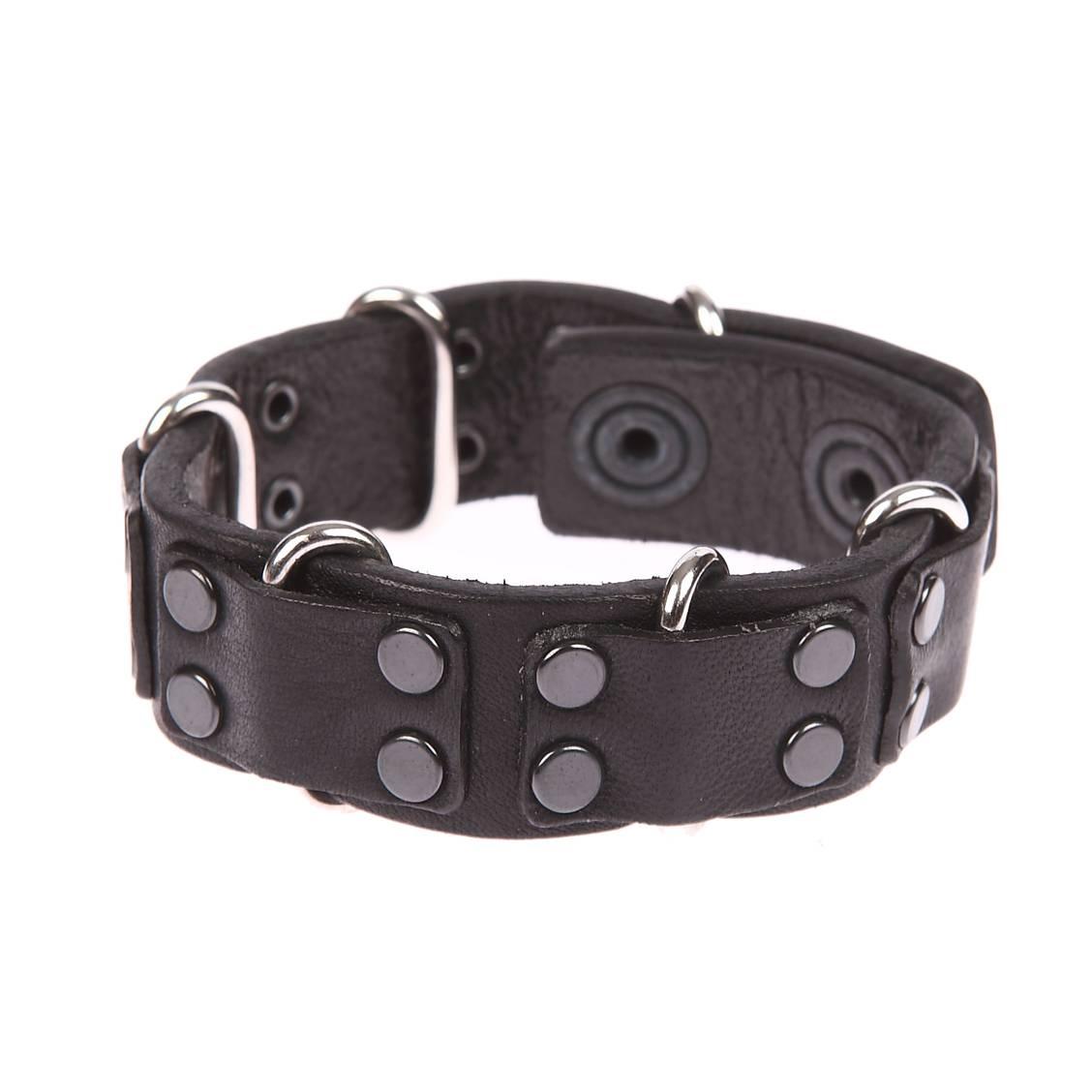bracelet diesel a carez en cuir noir boucles m talliques et empi cements en cuir noir rue. Black Bedroom Furniture Sets. Home Design Ideas