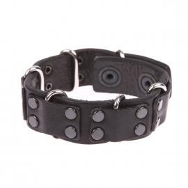 Bracelet Diesel en cuir noir à boucles métalliques et empiècements en cuir noir