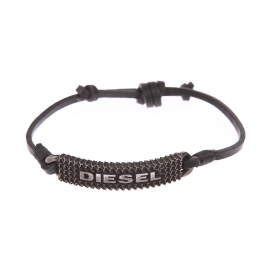 Bracelet Diesel : lien en cuir ajustable et plaque métallique texturée