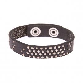 Bracelet Diesel en cuir noir à points métalliques