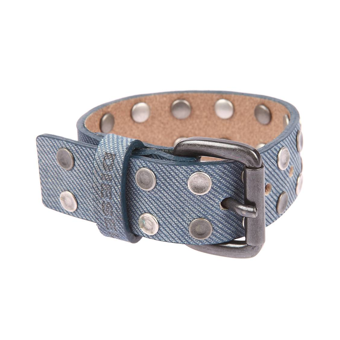 Large bracelet  en cuir effet bleu jean à ronds métalliques