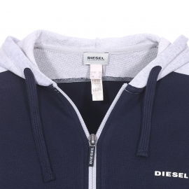 Sweat zippé à capuche Diesel en coton bleu marine à manches grises