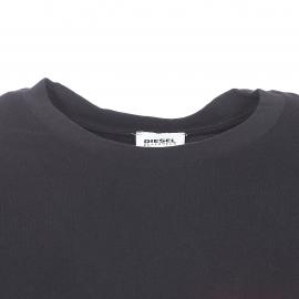 Tee-shirt col rond Diesel 100% coton noir à poche poitrine rouge