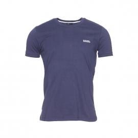 Tee-shirt col rond Diesel 100% coton bleu marine à bordures côtelées