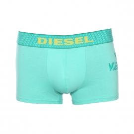 Boxer Diesel en coton stretch vert pastel floqué à ceinture brodée en jaune