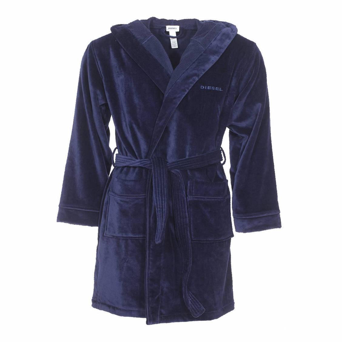 Peignoir de bain capuche diesel bleu marine brod diesel rue des hommes for Peignoir homme capuche