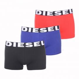 Lot de 3 boxers Diesel en coton stretch noir, bleu et rouge