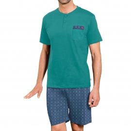 Pyjama court Dodo : Tee-shirt col tunisien vert sapin et short bleu marine à imprimés cannes de golf