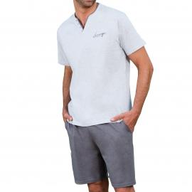 Pyjama court Dodo Lounge : Tee-shirt col V boutonné gris chiné et short gris anthracite