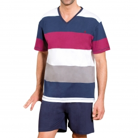 Pyjama court Dodo Paris  : Tee-shirt col V à rayures bleu marine, bordeaux, blanches et grises, short bleu marine