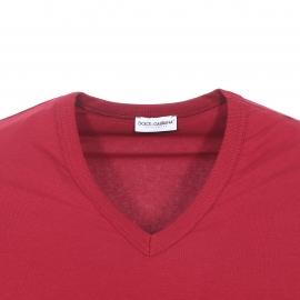 Tee-shirt col V Dolce&Gabbana en coton stretch bordeaux