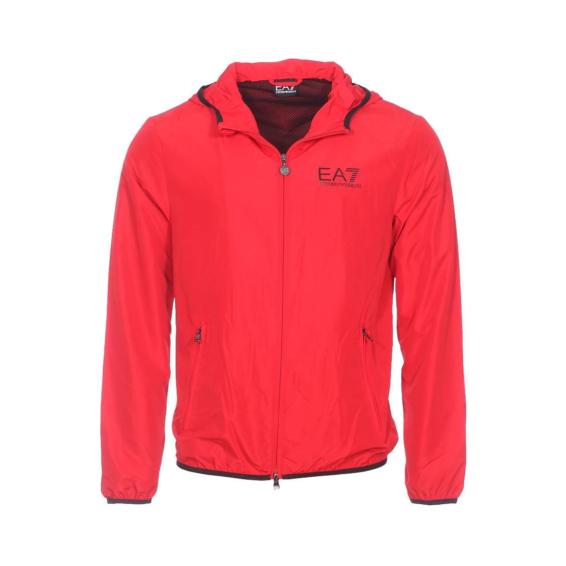 Blouson zippé à capuche  rouge