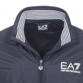 Blouson zippé EA7 en polyamide bleu nuit