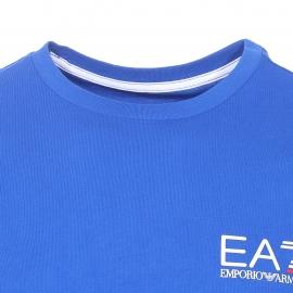 Tee-shirt col rond EA7 en coton bleu floqué du logo