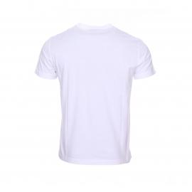 Tee-shirt col rond EA7 en coton blanc floqué du logo
