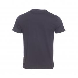 Tee-shirt col rond EA7 en coton noir floqué du logo